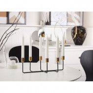 Suport lumanari tip candelabru Bangka, metal, negru, 12 x 36 x 16 cm