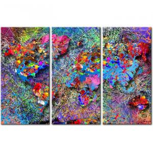 "Tablou ""Harta lumii"", 3 piese, panza/lemn, multicolor, 80 x 120 x 2 cm"