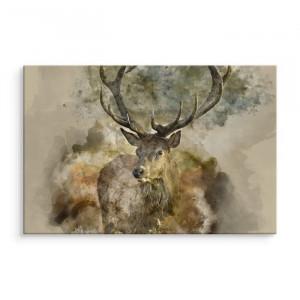 Tablou Deer Wild, bej/maro, 80 x 120 x 2 cm