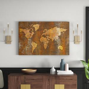 Tablou Rusty World, lemn, maro, 80 x 120 x 1,4 cm