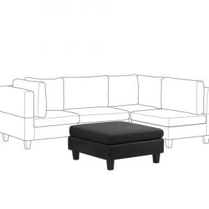 Taburet stil otoman FEVIK, textil, negru, 76 x 76 x 39 cm