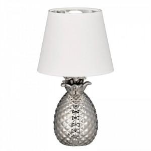 Veioza Pineapple I, ceramica/tesatura, argintie/alba, 20 x 35 cm, 40w