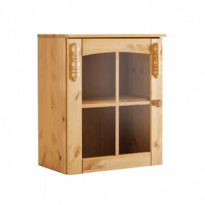 Vitrina suspendata Sylt din lemn masiv de pin, maro, 50 x 29 x 60 cm
