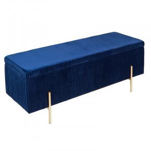 Banca cu spatiu de depozitare Ellie catifea/metal/lemn, albastru, 110 x 42 x 40 cm