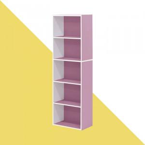 Bibliotecă Aliesha, alb/roz, 132 x 40 x 24 cm