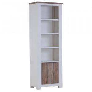 Biblioteca, lemn masiv, alb/maro, 200 x 70 x 40 cm