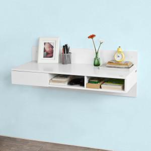 Birou de perete Carrick, lemn, alb, 40 x 100 x 40 cm