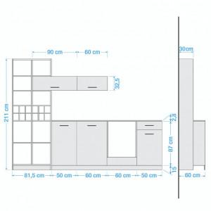 Bucatarie Casais (8-piese) fara electrocasnice PAL, alb/maro, 302 x 211 x 60 cm