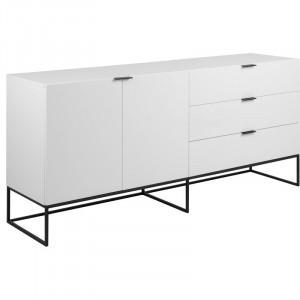 Bufet Dujardin, alb/negru, 80 x 180 x 45 cm
