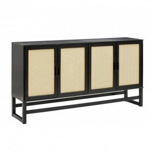 Bufet Jolene, lemn masiv/ ratan, negru/bej, 170 x 38 x 90 cm