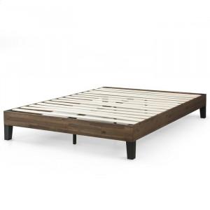 Cadru de pat Cribbs, lemn de salcam, maro, 140 x 195 cm