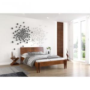 Cadru de pat Eng, lemn masiv, maro, 95 x 185,5 x 218 cm