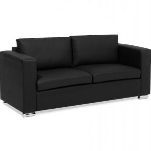 Canapea 3 locuri HELSINKI, piele naturala, neagra
