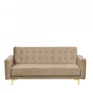 Canapea extensibilă Aberdeen din catifea cu 3 locuri, bej