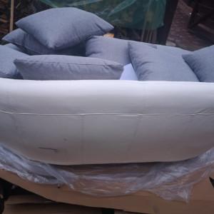Canapea Shamblin, piele ecologica, alb/gri, 50 x 210 x 115 cm