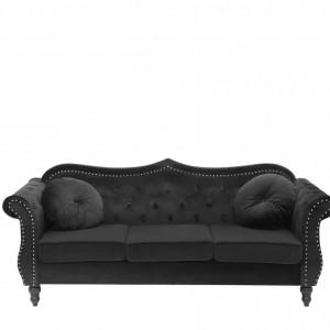 Canapea SKIEN, catifea, neagra, 91 x 200 x 83 cm