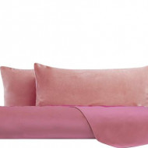 Cearsaf drept de pat si 2 fete de perna , catifea, roz , matrimonial