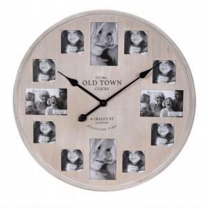 Ceas de perete cu rame foto, 60 cm, lemn, maro