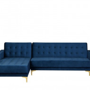 Coltar extensibil Aberdeen, catifea, albastru, 83 x 267 x 168 cm