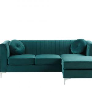 Coltar pe stanga TIMRA, catifea, verde smarald, 220 x 160 cm