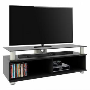 Comoda TV Clunis MDF/aluminiu, negru, 95 x 47 x 40 cm