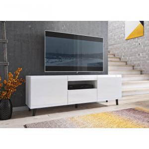Comoda TV Marybeth, 150x49x37 cm, alb mat/alb lucios