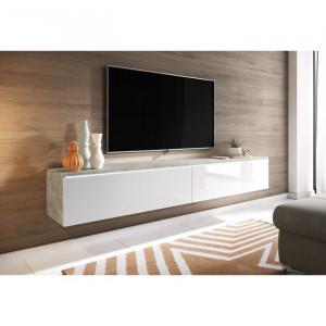 Comoda TV Pina, 30x180 x32 cm, beton/alb