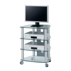 Comoda TV Rack CU SR 640 cu 4 rafturi, sticla/aluminiu, transparemt, 74 x 60 x 47 cm