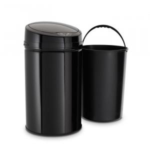 Cos de gunoi, otel inoxidabil, negru, 57 x 31 x 31 cm