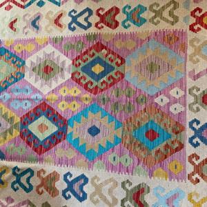 Covor Chilim Maimana Hilal tesut manual din lana 100% 152 x 195