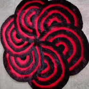 Covor Hadia-Blume negru / rosu, 140cm