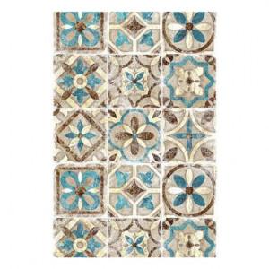 Covor vinil Malaga bej / albastru deschis, 50 x 100 cm
