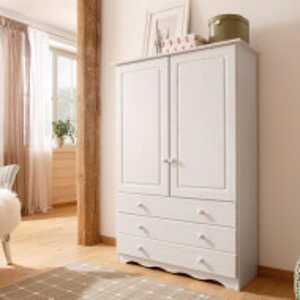 Dressing Minik, lemn masiv de pin, alb, 95 x 35 x 140 cm