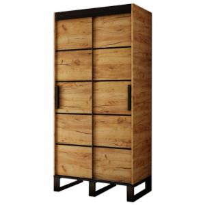 Dulap Fromberg, MDF, maro/negru, 212 x 100 x 62 cm