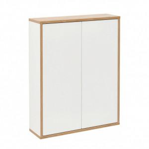 Dulap suspendat pentru baie Finn, alb/maro, 60 x 20,5 x 75 cm