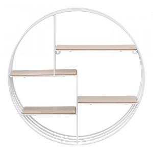 Etajera Adingdon, metal/lemn, alba, 45 x 45 x 10 cm