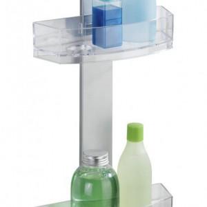 Etajera cu 2 rafturi si oglinda anti-aburire Caddy Premium, plastic/aluminiu, gri, 25 x 71 x 10.5 cm