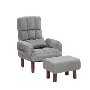 Fotoliu recliner OLAND, lemn/poliester, gri