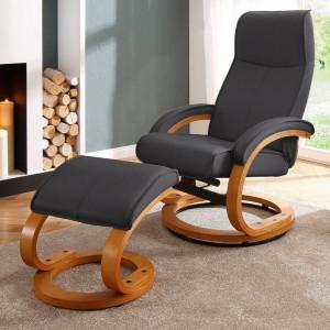 Fotoliu recliner Paris cu otoman, piele sintetica/lemn, negru, 67x107x78 cm