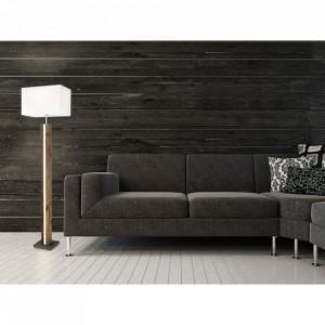 Lampadar, lemn/textil, maro/alb, 40 x 150 x 27 cm