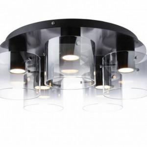 Lustra LED Beth III sticla /metal, 5 becuri, negru, diametru 530, 230 V, 5x8 W