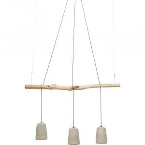 Lustra tip pendul, metal/lemn, bej/gri, 120 x 15 cm, 25w