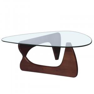 Masa de cafea Hyer, lemn masiv/sticla, 39,88 x 91,95 x 127 cm