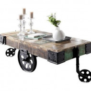 Masa de cafea Industrial, lemn masiv/ metal, 43 x 120 x 60 cm