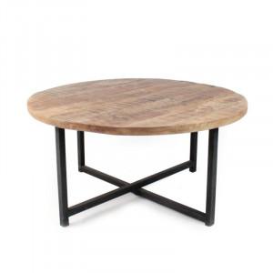 Masa de cafea Jaidyn, lemn masiv/metal, 40 x 80 x 80 cm