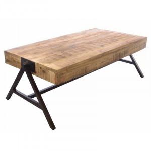 Masa de cafea Leslie din lemn masiv, 119 x 61 cm