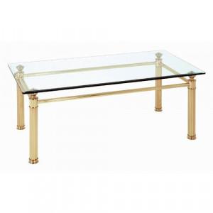 Masă de cafea Lichfield, transparenta/aurie, 43 x 110 x 60 cm