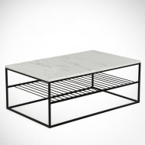 Masă de cafea Sagefield, metal, alb/negru, 43 x 95 x 55 cm