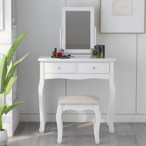 Masa de toaleta Giddens, cu oglinda, alb, 127 x 80 x 40 cm