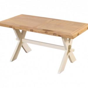Masa extensibila Avignon, lemn masiv, maro/crem, 165/215 x 77 x 141 cm